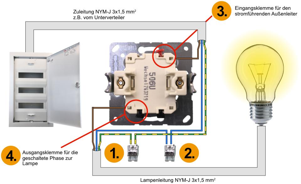 Elektroinstallation, Wechselschalter, Lichtschalter, Ausschalter, Richtig anschließen, Ausschaltung anschließen, Lichtschalter anschließen