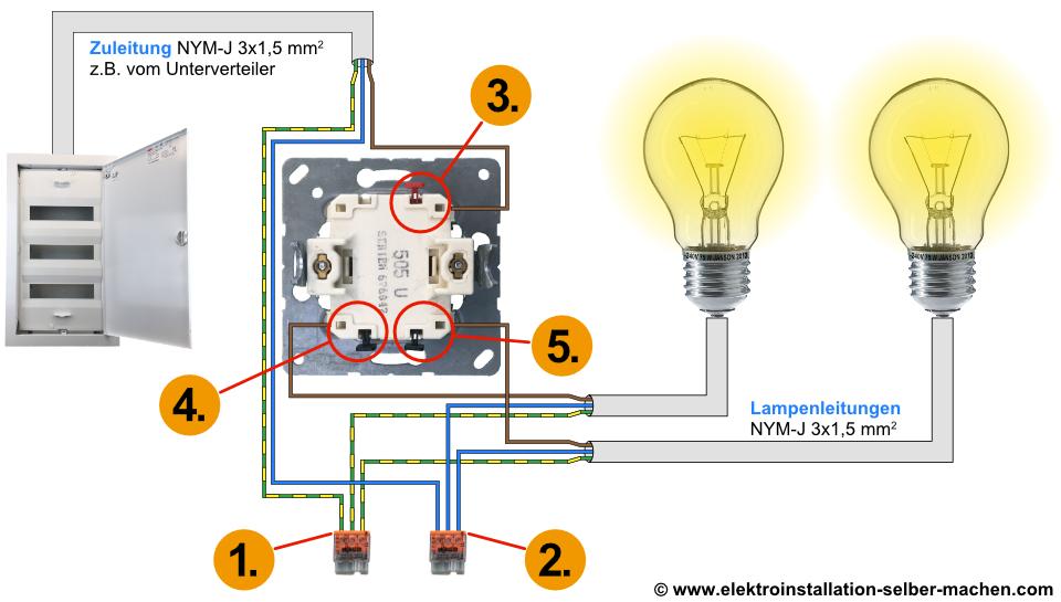 Serienschaltung Anleitung, Serienschalter Erklärung, Schaltplan, Elektroinstallation, Schalter Installieren
